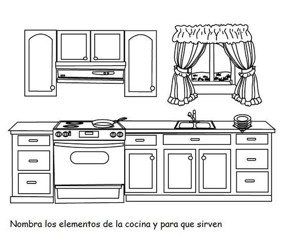 Partes de la cocina para colorear imagui - Dibujos de cocina para colorear ...