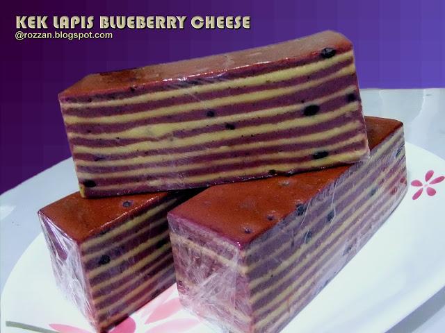 Di sini, saya nak berkongsi resipi Kek Lapis Blueberry Cheese yg saya