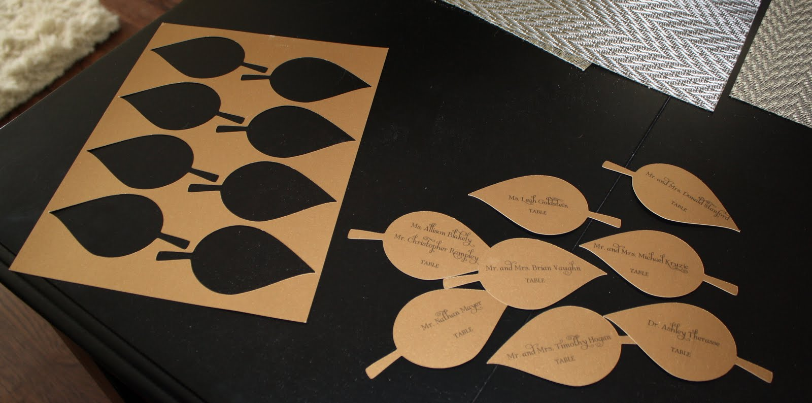 DIY Cricut leaf wedding escort cards.