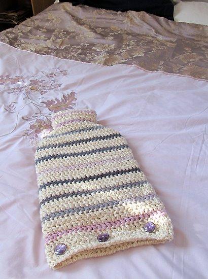 Camellia Rose: Striped hot water bottle cover - crochet pattern