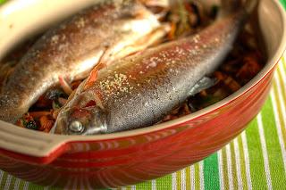 sült hal pisztráng cider gomba gombaágy rókagomba erdei csiperke csiperkegomba salotta