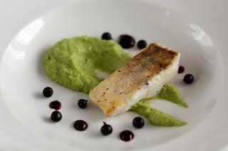 ropogós fogas fogasfilé hal zöldbab püré zöldbabpüré bodza bodzavirág feketeribizli fekete ribizli püré coulis