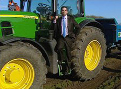 Donald Trump Jnr with a big tractor