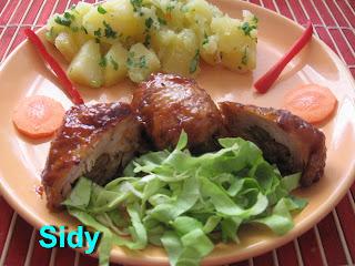 Articole culinare : Pulpe umplute, la cuptor, cu cartofi molcomi