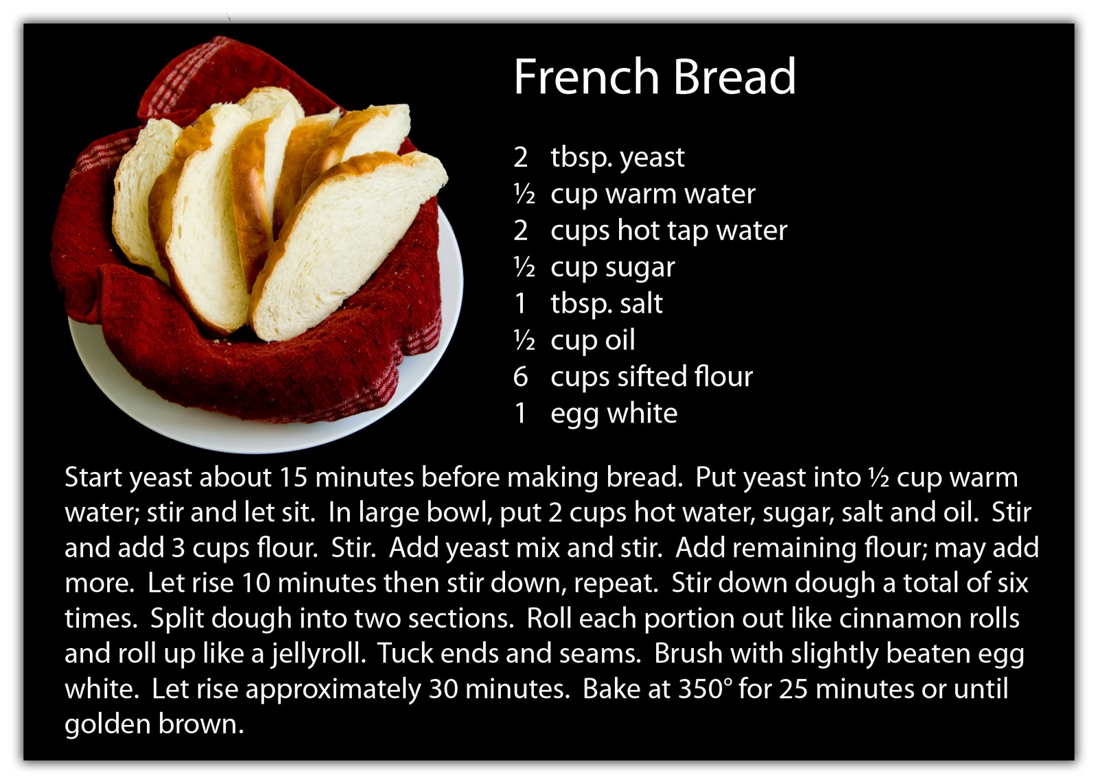 From the blue chair my favorite french bread when my younger sister got married i gave her all the fixins bowls pan and measuring cups to make this bread as well as this recipe card i made forumfinder Choice Image