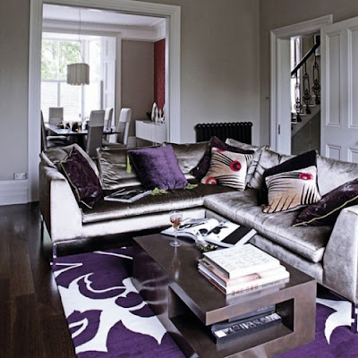I dream of decor a passion for purple for Purple and grey living room decorating ideas