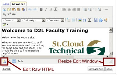 HTML Editor showing Raw HTML mode icon