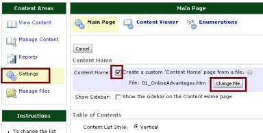 D2L Content Settings showing the custom homepage settings.