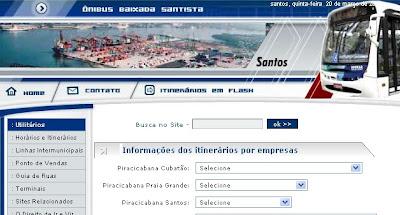 reprodução do site sobre os ônibus da baixada santista