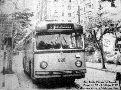 A Tribuna de Santos - abril de 1967 em foto retirada do site Trolebus de Santos