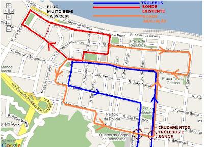 Mapa do Centro de Santos com as linhas de bonde e de trólebus - Foto de Emilio Pechini em 17/09/2008