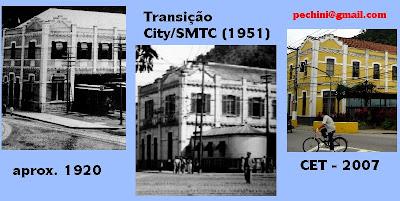 Montagem sobre fotos: 1920 - Painel na portaria da Companhia de Engenharia de Tráfego de Santos; 1951 - Foto constante no Relatório de Serviço de Bondes de 1951; Foto de Emilio Pechini em junho de 2007