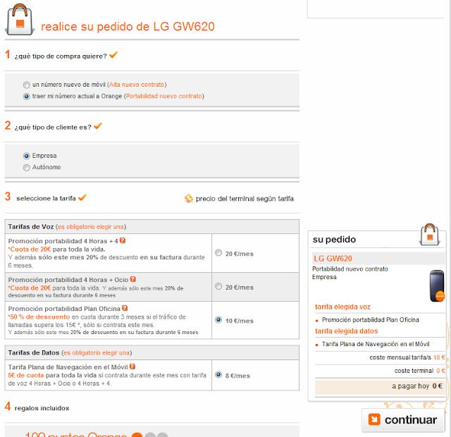 LG GW620 con Orange YA!