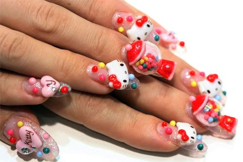 thinks i need to go to tokyo to get this very cool hello kitty nail art,