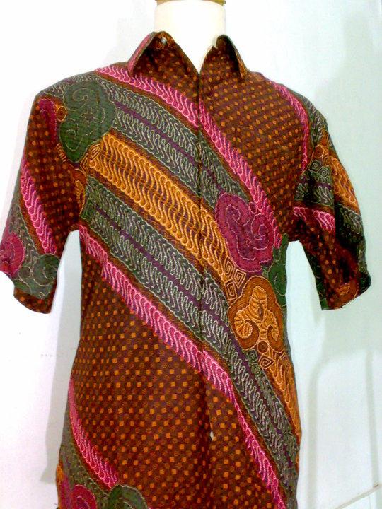 Grosir Batik Baju Batik Pria Hem Batik Coklat Paduan Warna