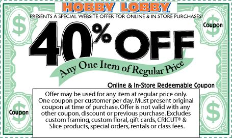 Hobby lobby coupon code instore