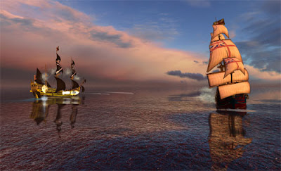 Pirates of the Burning Sea Comes to AbleGamer's Shore. Image of a old pirate ship firing upon an old British Empire galleon across a calm sea.
