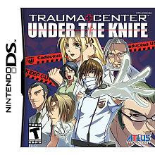Image of Nintedo DS game box cover of Trauma Center. Anime medical scene.
