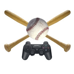 Playstation 2 controller above two crossed basedball bats.