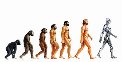 Image of Darwin's theory of man's evolution - monkey - caveman - man - android tacked on the end.
