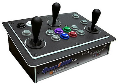 Quasicmoto's Quasicon Axis 1P Analogue Arcade Stick. Large black arcade controller with three large spaced out joysticks and a variety of colourful arcade style push buttons.