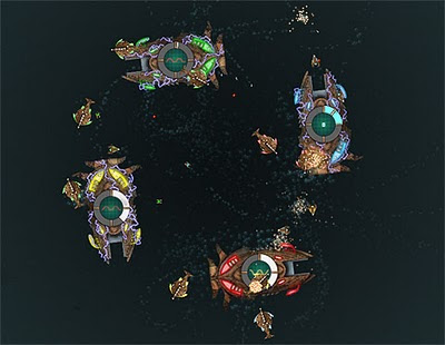 Image of four watery giant 'factory ships' deep in battle.