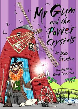 Mr. Gum and the Power Crystals. Cartoon image of scruffy, beared 'Mr.Gum' juggling two Power Crystals outside a wind-mill.
