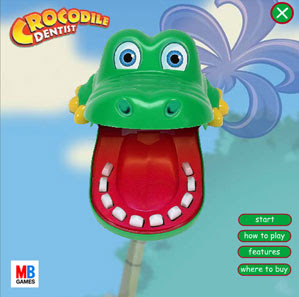 Crocodile Dentist - Image of a plastic crocodile head - mouth wide open - teeth exposed.