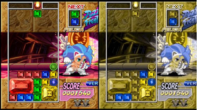 Image of colour matching puzzle game: Super Puzzle Fighter II Turbo as seen by someone with normal eyes and by someone with Deuteranopia (a red-green color deficit)