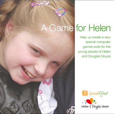 Image of ten year old girl Helen, smiling warmly. Text reads: A Game for Helen - Help us create a very special computer games suite for the young people of Helen and Douglas House.