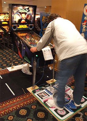 Image of pinball game 'The Shadow' being played by a gamer using a Dance Mat.