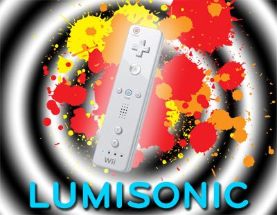 Luminsonic - image of concentric black and white blurred circles in the background with red and orange paint splats in the midground and a Wii-remote controller in the foreground.