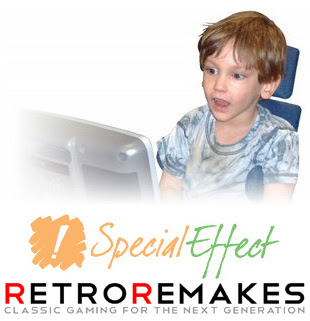 Image of Special Effect and Retro Remakes banners below an image of a young boy delighted whilst using an Eye Tracker for the first time successfully.