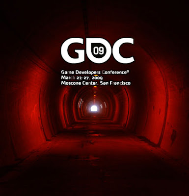 Image of a long foot-tunnel swathed in deep red light with bright white light at its end. Text reads: Game Developers Conference. March 23-27, 2009. Moscone Centre, San Francisco.