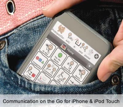 Image of a person pulling an AAC (Alternative and Augmentative Communication) application running on an iPhone, being pulled from their pocket.