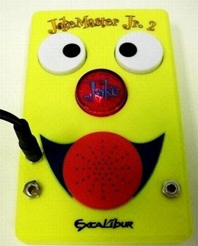 Image of a bright yellow battery operated device - the Excalibar Jokemaster.