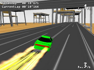 Image of a green car hurtling down a scalextric track surrounded by chairs.