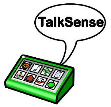 Image of a green A.A.C symbols communication device with a speech bubble reading 'Talk Sense'.