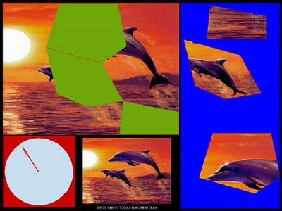 Image of Picture Puzzle. A fragmented image of two dolphins jumping out of water at sun-set.