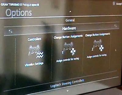 Image of Gran Turismo 5 Prologue's initial controller reconfiguration screen. Offering control over Vibration and both player 1 and player 2 joypad set-ups. Nice!