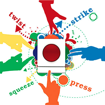 Image of the Skoog musical instrument (a white spongy cube, each surface with a different coloured dome element) with four silhoutted hands on it. The text reads, 'twist, strike, squeeze, press'.