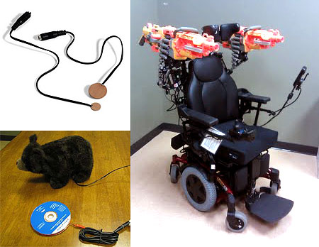Image of Gavin Philips' 'Combat Chair', a super-cheap to build accessibility switch and a stock photo of a battery interrupter.