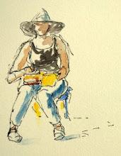 Brigitte sketching in Provence