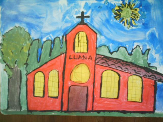 Igreja guache sobre papel