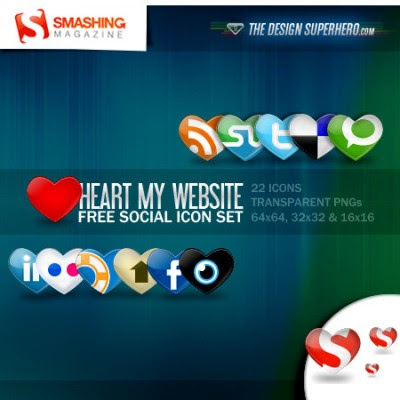 Heart my website free social icon set Over 70 Beautiful Free Social Bookmarking Icon Sets
