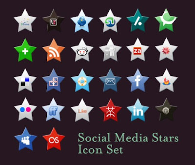 Social Media Stars Icon Set by Arbenting, 75 Beautiful Free Social Bookmarking Icon Sets