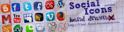 Social Icons hand drawned by TheG Force 75 Beautiful Free Social Bookmarking Icon Sets