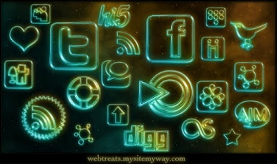 high resolution Glowing Neon Social Networking Icons by mysitemyway