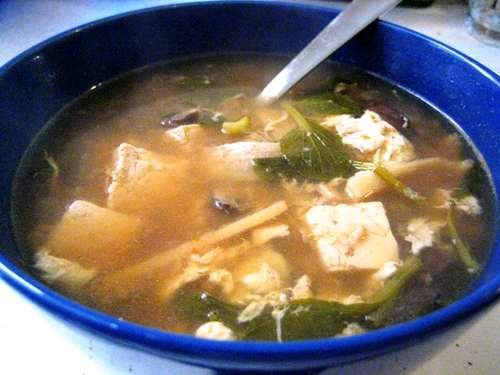 Spicy Miso Soup With Bok Choy Wontons Recipe — Dishmaps
