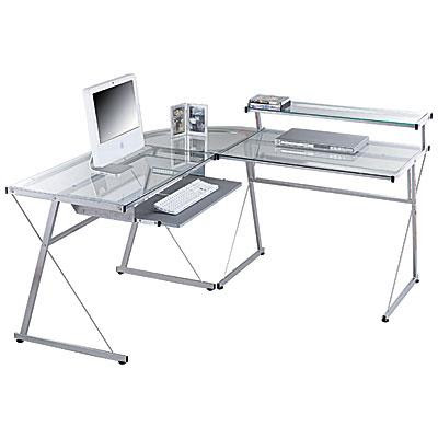 glass top desk. glass top L-shaped desk
